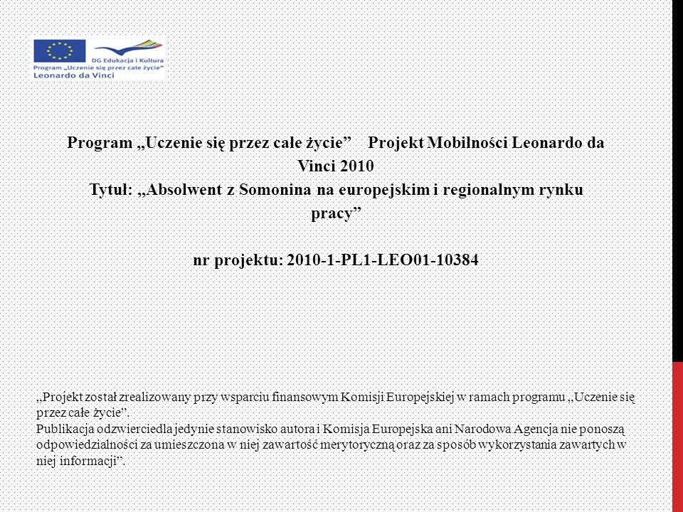 Program Uczenie się przez całe życie Projekt Mobilności Leonardo da Vinci 2010 Tytuł: Absolwent z Somonina na europejskim i regionalnym rynku pracy nr projektu: 2010-1-PL1-LEO01-10384 Projekt został zrealizowany przy wsparciu finansowym Komisji Europejskiej w ramach programu Uczenie się przez całe życie.