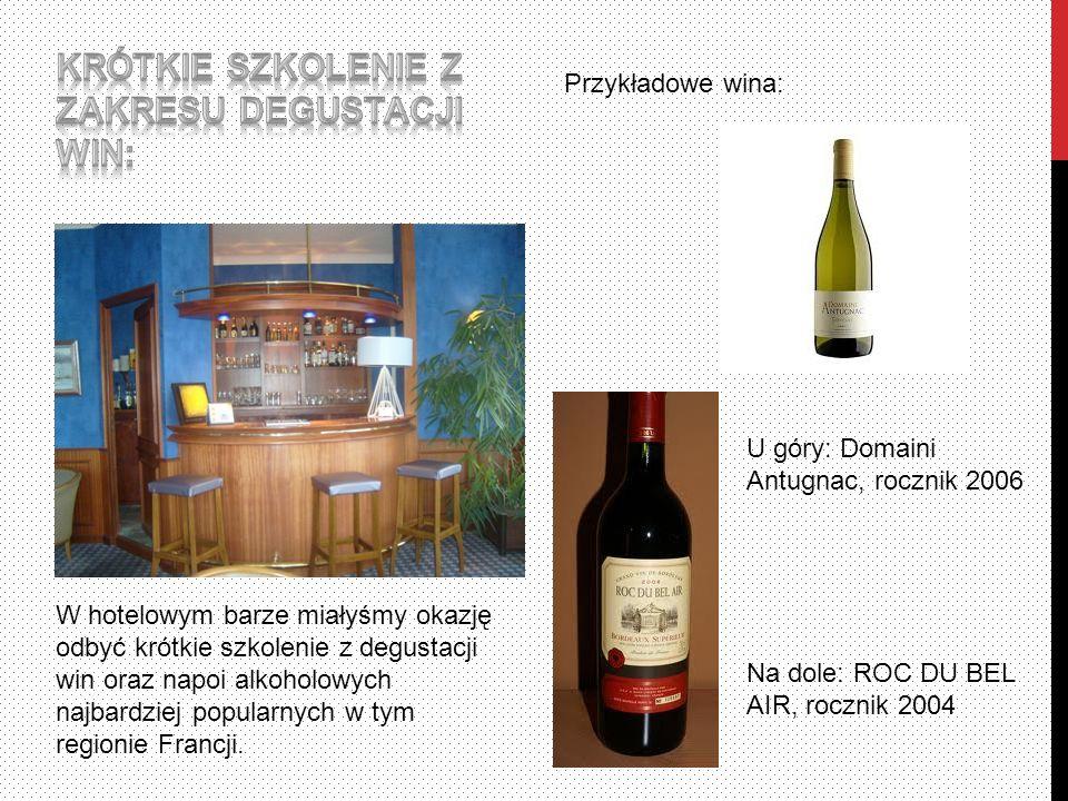 W hotelowym barze miałyśmy okazję odbyć krótkie szkolenie z degustacji win oraz napoi alkoholowych najbardziej popularnych w tym regionie Francji.