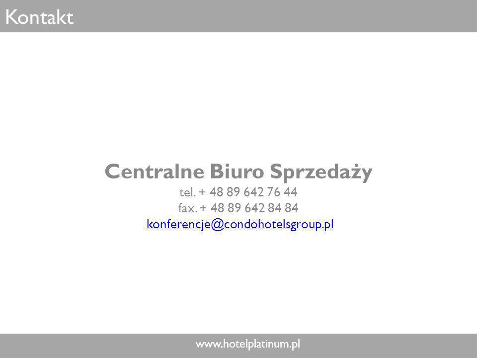 www.hotelplatinum.pl Kontakt Centralne Biuro Sprzedaży tel.