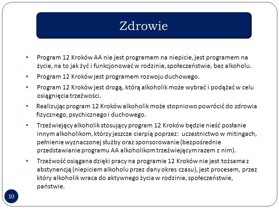 10 Program 12 Kroków AA nie jest programem na niepicie, jest programem na życie, na to jak żyć i funkcjonować w rodzinie, społeczeństwie, bez alkoholu