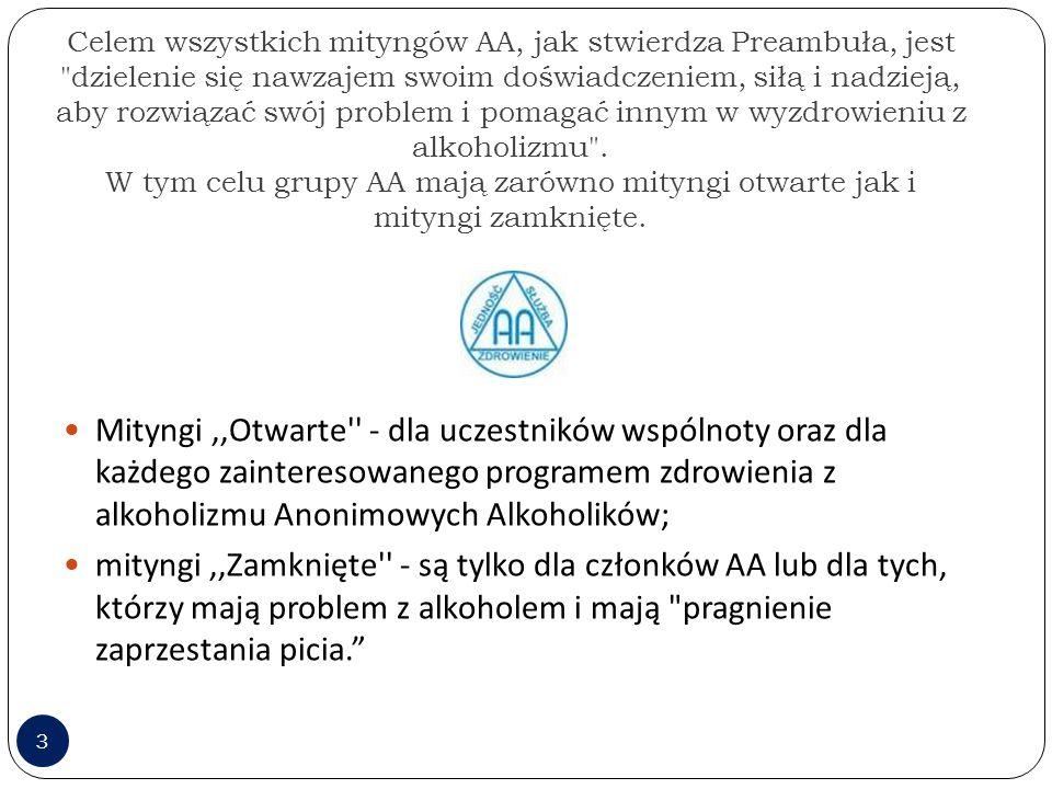 Celem wszystkich mityngów AA, jak stwierdza Preambuła, jest