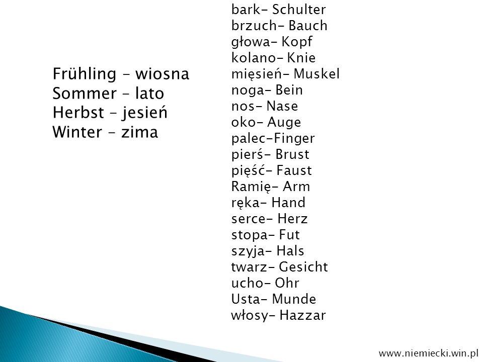 Frühling – wiosna Sommer – lato Herbst – jesień Winter – zima www.niemiecki.win.pl bark- Schulter brzuch- Bauch głowa- Kopf kolano- Knie mięsień- Musk