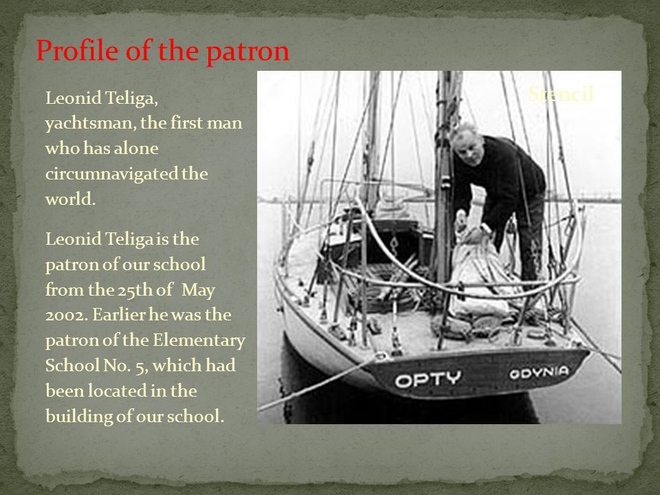 Leonid Teliga, yachtsman, the first man who has alone circumnavigated the world.