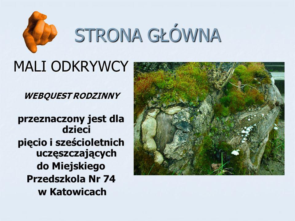 STRONA GŁÓWNA MALI ODKRYWCY WEBQUEST RODZINNY przeznaczony jest dla dzieci pięcio i sześcioletnich uczęszczających do Miejskiego Przedszkola Nr 74 w Katowicach