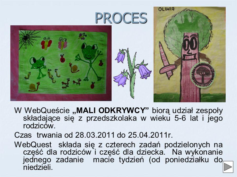 PROCES W WebQueście MALI ODKRYWCY biorą udział zespoły składające się z przedszkolaka w wieku 5-6 lat i jego rodziców.