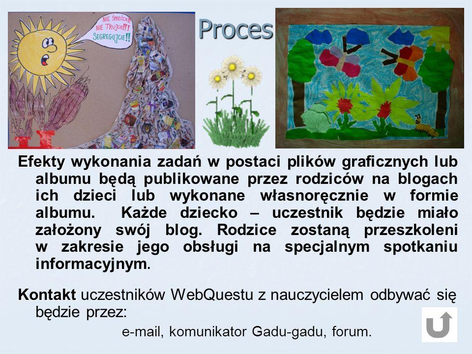 Proces Efekty Efekty wykonania zadań w postaci plików graficznych lub albumu będą publikowane przez rodziców na blogach ich dzieci lub wykonane własnoręcznie w formie albumu.