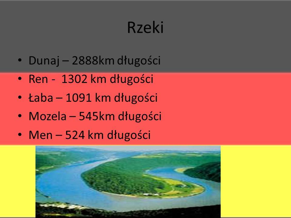 Rzeki Dunaj – 2888km długości Ren - 1302 km długości Łaba – 1091 km długości Mozela – 545km długości Men – 524 km długości