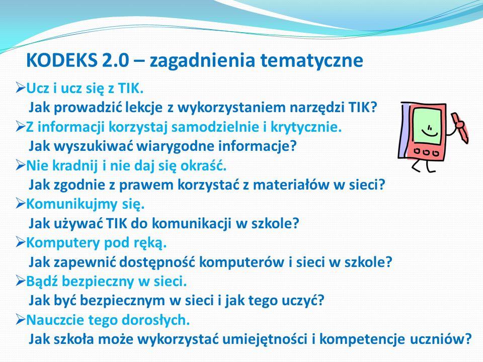 KODEKS 2.0 – zagadnienia tematyczne Ucz i ucz się z TIK. Jak prowadzić lekcje z wykorzystaniem narzędzi TIK? Z informacji korzystaj samodzielnie i kry