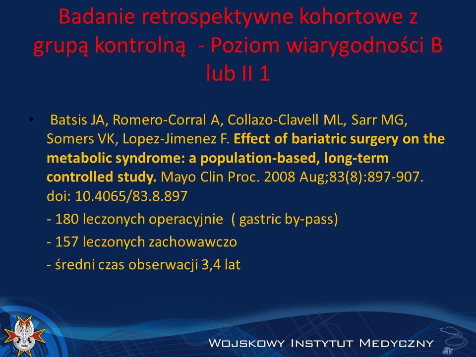 Badanie retrospektywne kohortowe z grupą kontrolną - Poziom wiarygodności B lub II 1 Batsis JA, Romero-Corral A, Collazo-Clavell ML, Sarr MG, Somers V