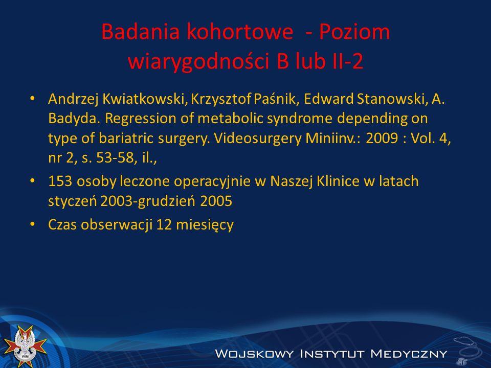 Badania kohortowe - Poziom wiarygodności B lub II-2 Andrzej Kwiatkowski, Krzysztof Paśnik, Edward Stanowski, A. Badyda. Regression of metabolic syndro