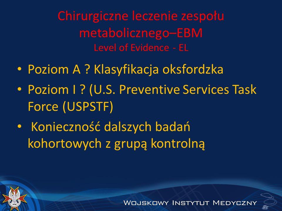 Chirurgiczne leczenie zespołu metabolicznego–EBM Level of Evidence - EL Poziom A ? Klasyfikacja oksfordzka Poziom I ? (U.S. Preventive Services Task F