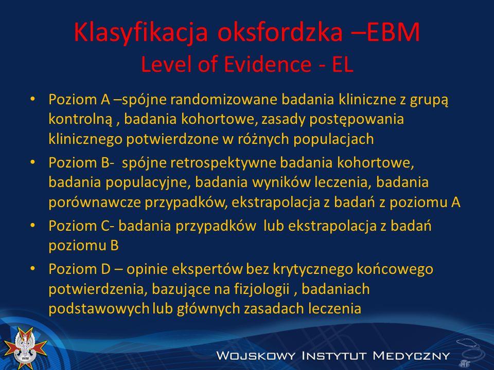 Klasyfikacja oksfordzka –EBM Level of Evidence - EL Poziom A –spójne randomizowane badania kliniczne z grupą kontrolną, badania kohortowe, zasady post