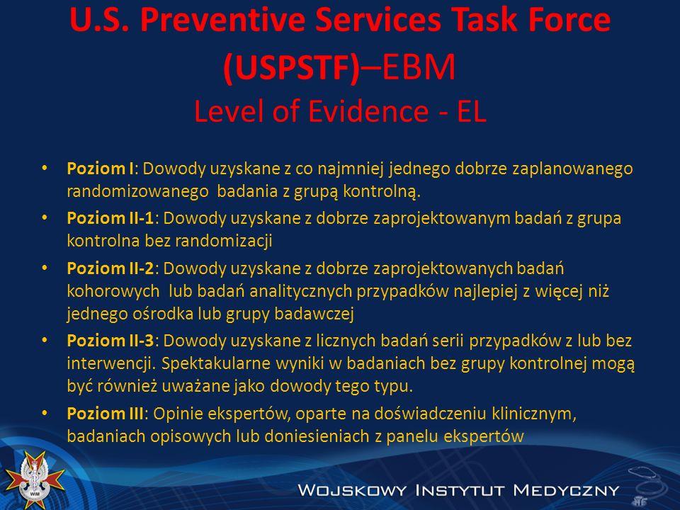 U.S. Preventive Services Task Force (USPSTF) –EBM Level of Evidence - EL Poziom I: Dowody uzyskane z co najmniej jednego dobrze zaplanowanego randomiz
