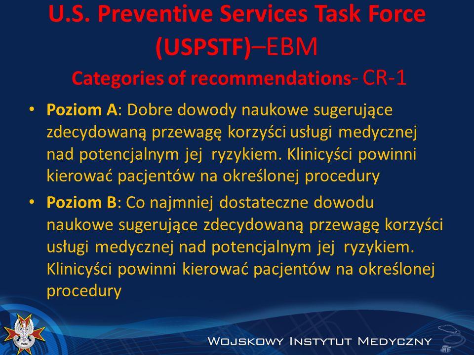 U.S. Preventive Services Task Force (USPSTF) –EBM Categories of recommendations - CR-1 Poziom A: Dobre dowody naukowe sugerujące zdecydowaną przewagę