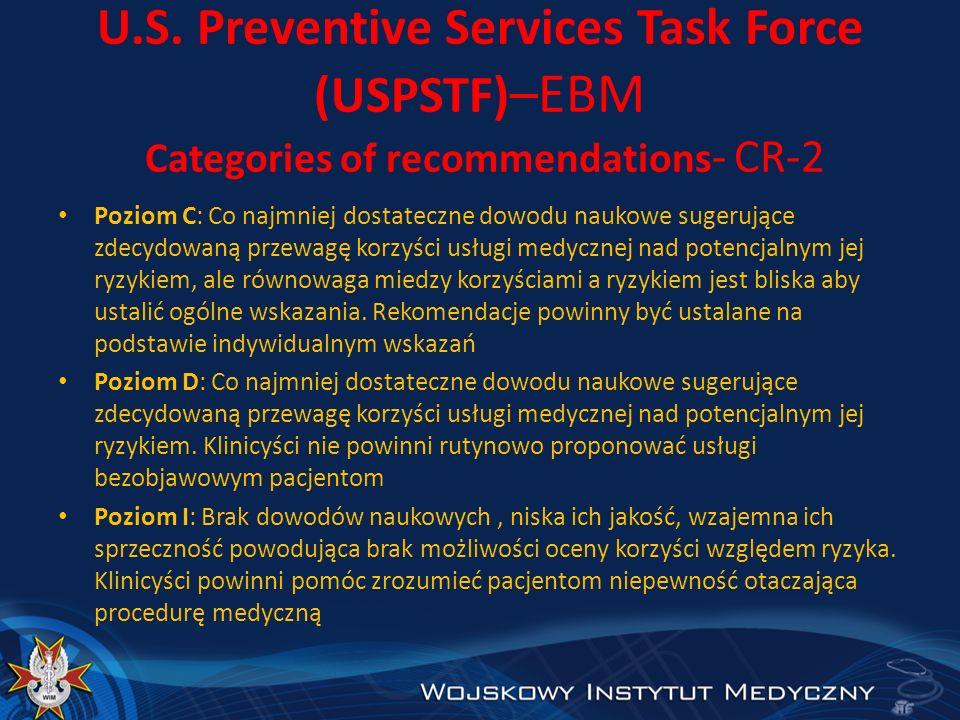 U.S. Preventive Services Task Force (USPSTF) –EBM Categories of recommendations - CR-2 Poziom C: Co najmniej dostateczne dowodu naukowe sugerujące zde
