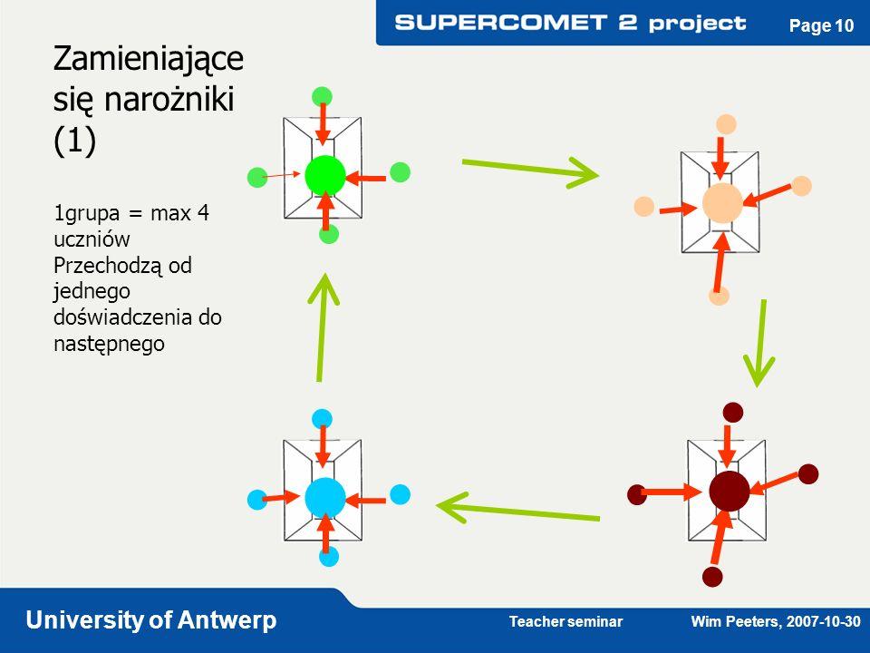 Teacher seminar Wim Peeters, 2007-10-30 University of Antwerp Page 10 Zamieniające się narożniki (1) 1grupa = max 4 uczniów Przechodzą od jednego dośw