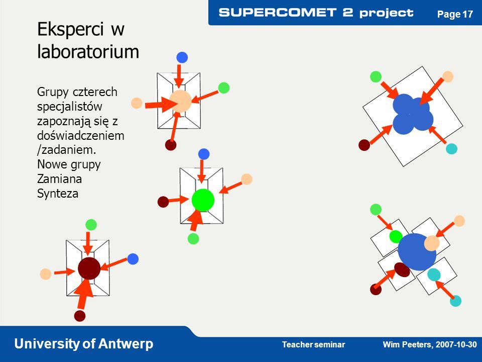 Teacher seminar Wim Peeters, 2007-10-30 University of Antwerp Page 17 Eksperci w laboratorium Grupy czterech specjalistów zapoznają się z doświadczeni