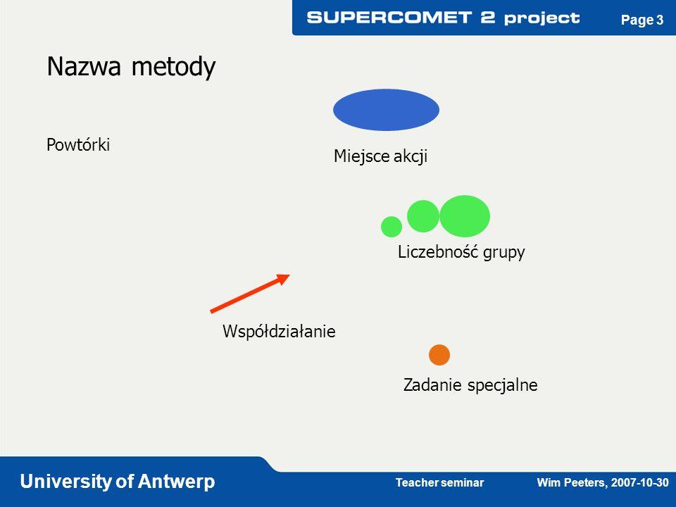 Teacher seminar Wim Peeters, 2007-10-30 University of Antwerp Page 3 Współdziałanie Liczebność grupy Zadanie specjalne Nazwa metody Powtórki Miejsce a