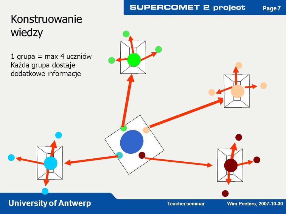 Teacher seminar Wim Peeters, 2007-10-30 University of Antwerp Page 7 Konstruowanie wiedzy 1 grupa = max 4 uczniów Każda grupa dostaje dodatkowe inform
