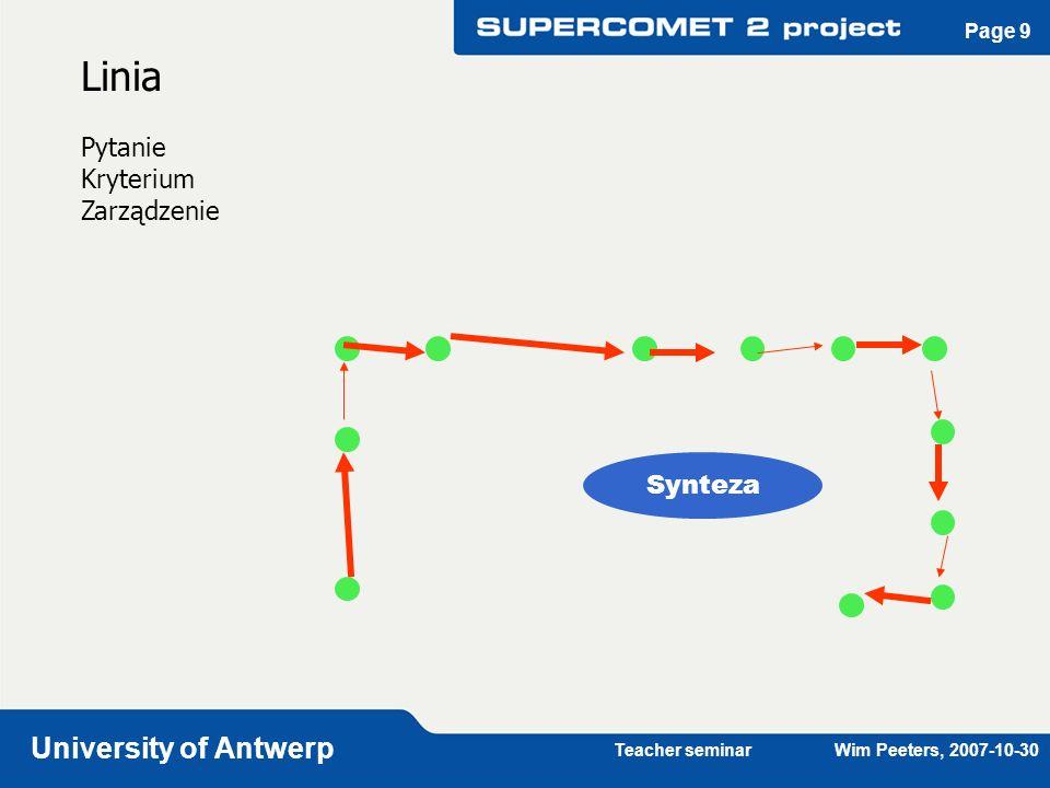 Teacher seminar Wim Peeters, 2007-10-30 University of Antwerp Page 9 Linia Pytanie Kryterium Zarządzenie Synteza