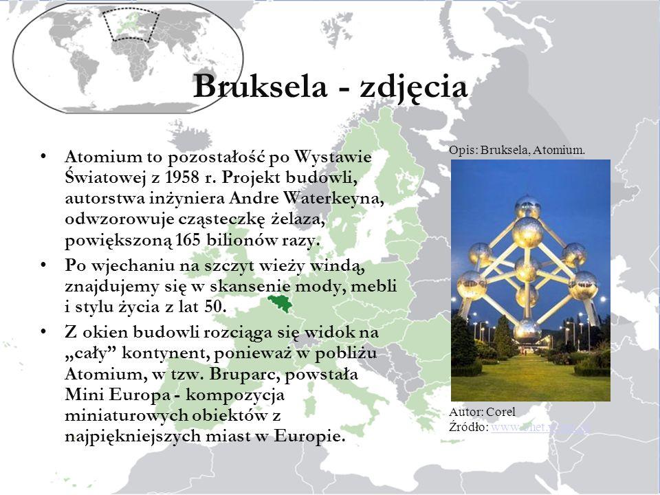 Bruksela - zdjęcia Atomium to pozostałość po Wystawie Światowej z 1958 r.
