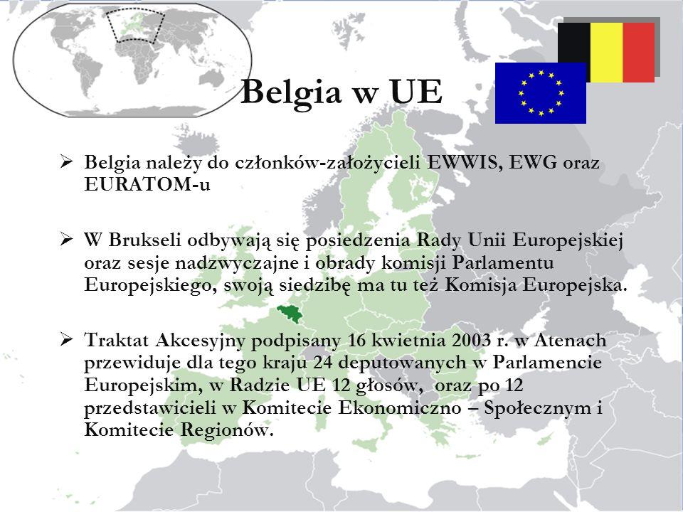 Belgia w UE Belgia należy do członków-założycieli EWWIS, EWG oraz EURATOM-u W Brukseli odbywają się posiedzenia Rady Unii Europejskiej oraz sesje nadzwyczajne i obrady komisji Parlamentu Europejskiego, swoją siedzibę ma tu też Komisja Europejska.