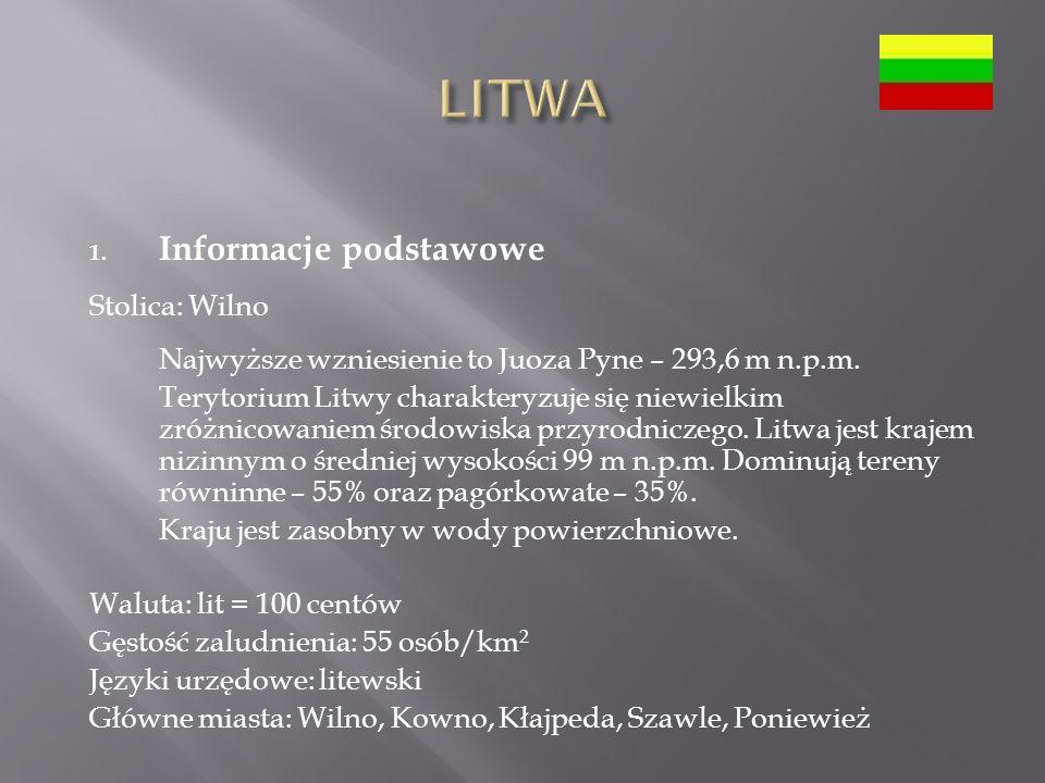 1.Informacje podstawowe Stolica: Wilno Najwyższe wzniesienie to Juoza Pyne – 293,6 m n.p.m.