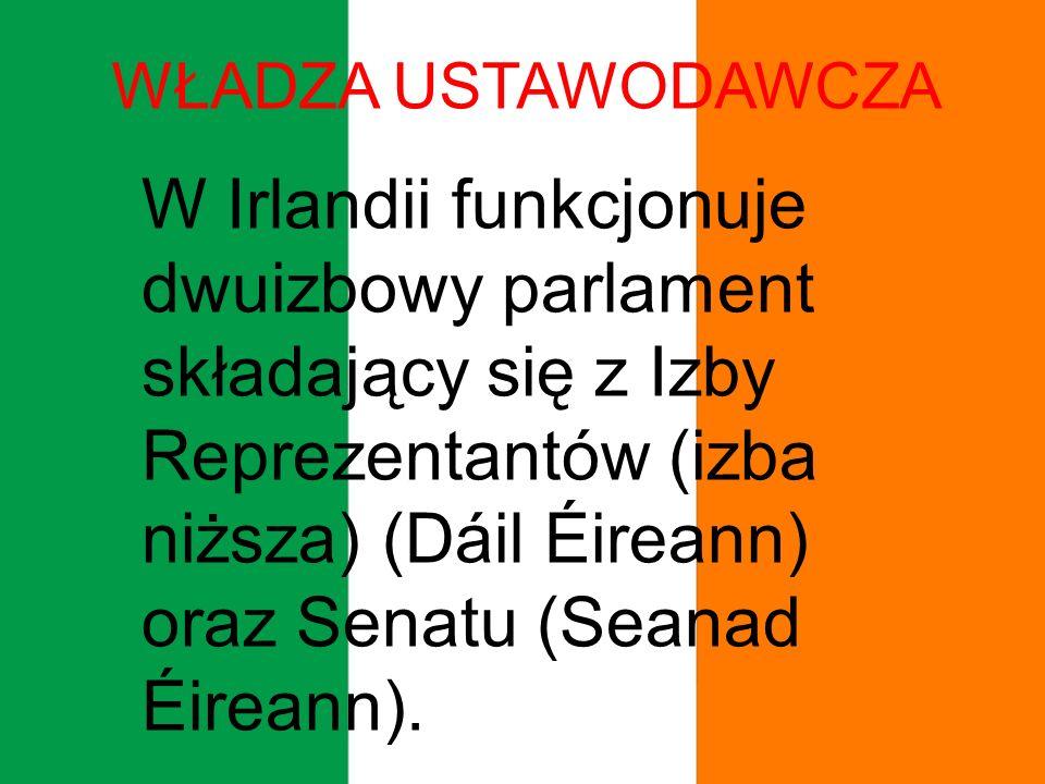 WŁADZA USTAWODAWCZA W Irlandii funkcjonuje dwuizbowy parlament składający się z Izby Reprezentantów (izba niższa) (Dáil Éireann) oraz Senatu (Seanad Éireann).