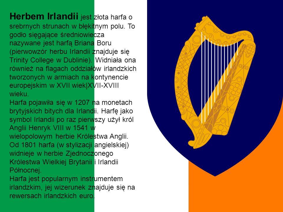 Herbem Irlandii jest złota harfa o srebrnych strunach w błękitnym polu.