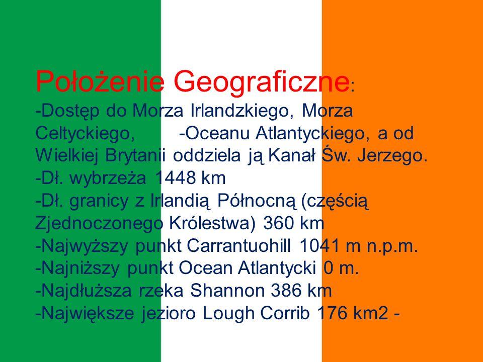 Położenie Geograficzne : -Dostęp do Morza Irlandzkiego, Morza Celtyckiego, -Oceanu Atlantyckiego, a od Wielkiej Brytanii oddziela ją Kanał Św.