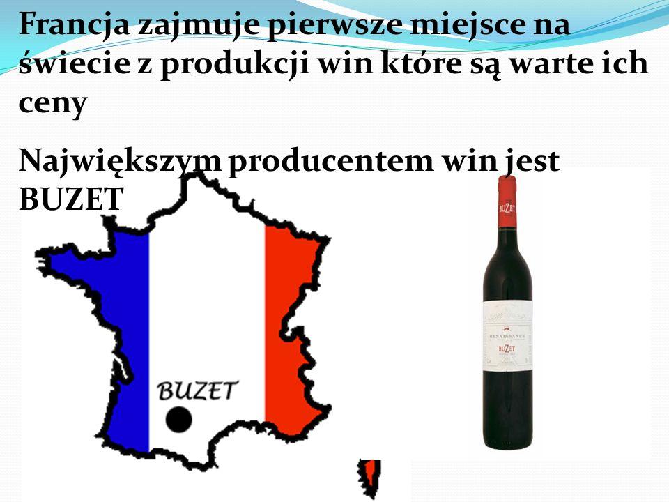 Francja zajmuje pierwsze miejsce na świecie z produkcji win które są warte ich ceny Największym producentem win jest BUZET