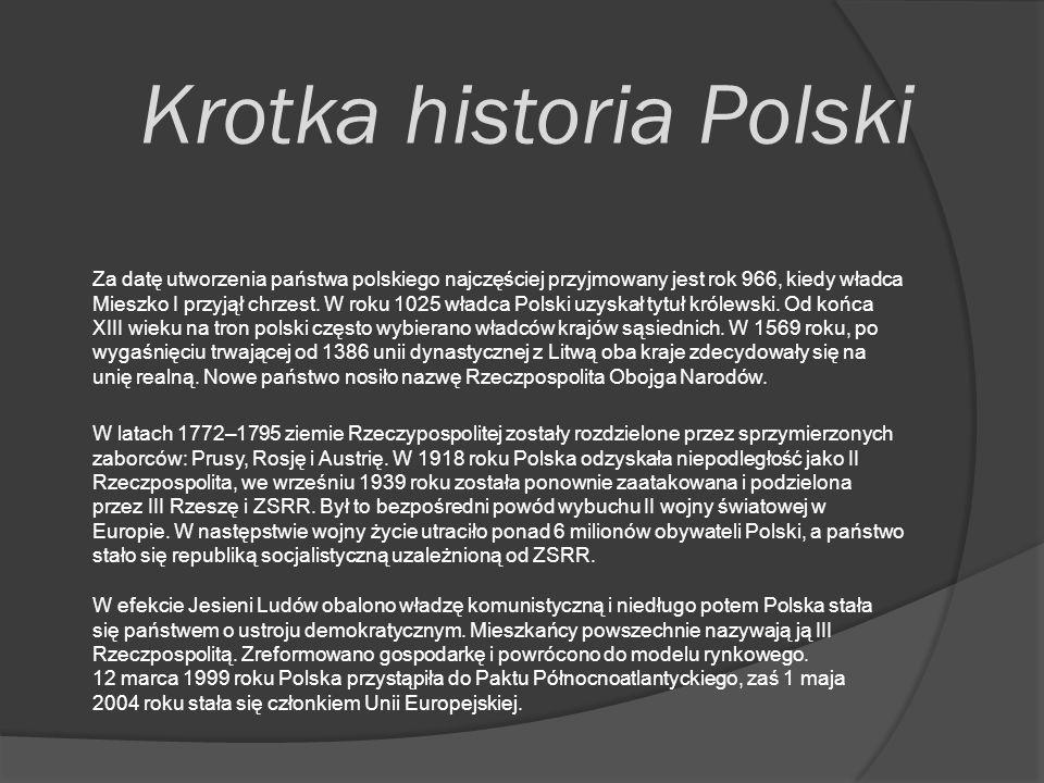 Krotka historia Polski W latach 1772–1795 ziemie Rzeczypospolitej zostały rozdzielone przez sprzymierzonych zaborców: Prusy, Rosję i Austrię.
