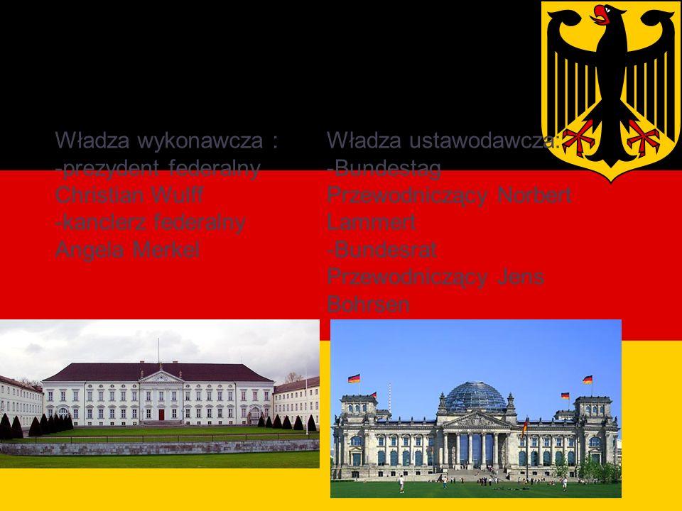 Władze Niemiec Władza wykonawcza : -prezydent federalny Christian Wulff -kanclerz federalny Angela Merkel Władza ustawodawcza: -Bundestag Przewodniczący Norbert Lammert -Bundesrat Przewodniczący Jens Bohrsen