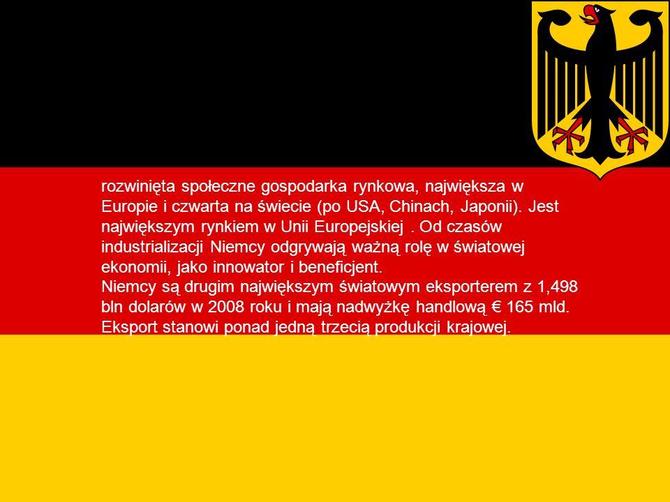 Gospodarka Niemiec rozwinięta społeczne gospodarka rynkowa, największa w Europie i czwarta na świecie (po USA, Chinach, Japonii).