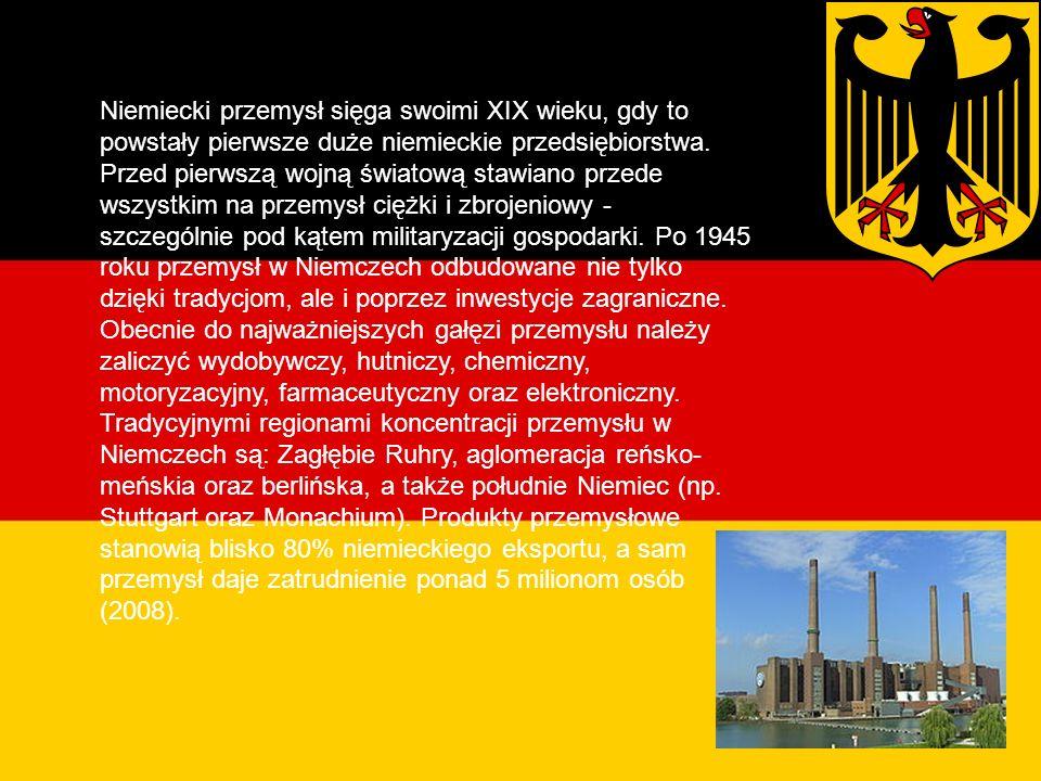 Przemysł Niemiecki przemysł sięga swoimi XIX wieku, gdy to powstały pierwsze duże niemieckie przedsiębiorstwa.
