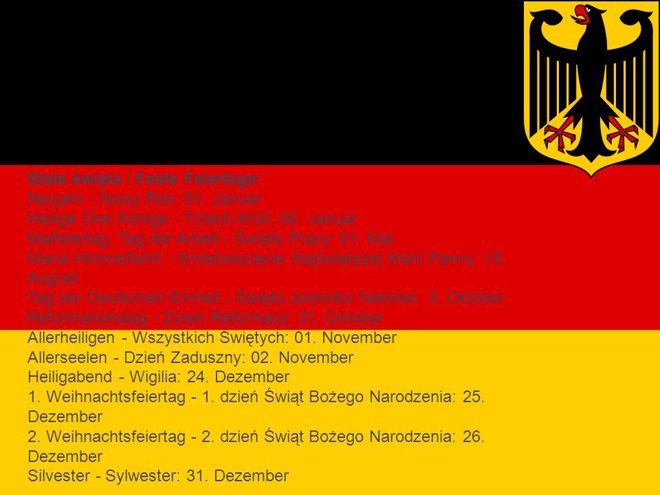 Święta religijne Niemiec Stałe święta / Feste Feiertage: Neujahr - Nowy Rok: 01.