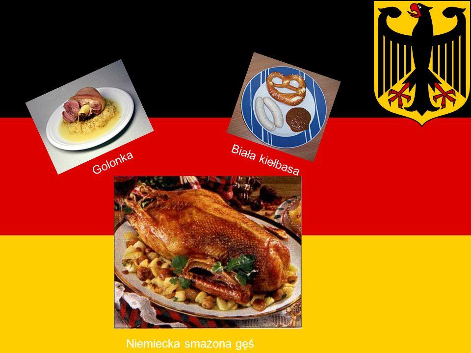 Potrawy Niemieckie Golonka Biała kiełbasa Niemiecka smażona gęś