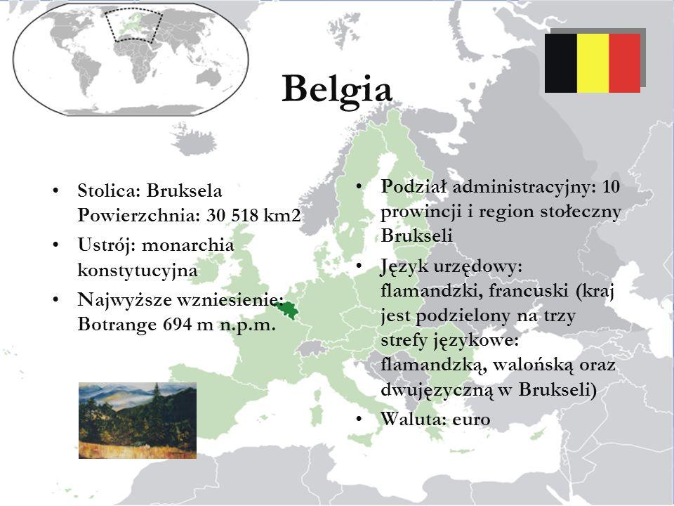 Stolica: Bruksela Powierzchnia: 30 518 km2 Ustrój: monarchia konstytucyjna Najwyższe wzniesienie: Botrange 694 m n.p.m.