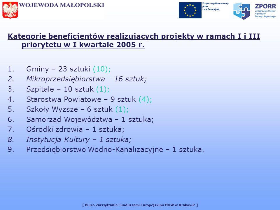 [ Biuro Zarządzania Funduszami Europejskimi MUW w Krakowie ] Kategorie beneficjentów realizujących projekty w ramach I i III priorytetu w I kwartale 2005 r.