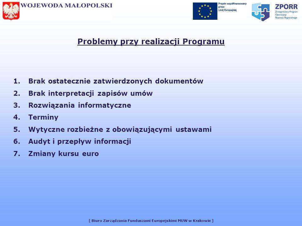 [ Biuro Zarządzania Funduszami Europejskimi MUW w Krakowie ] Problemy przy realizacji Programu 1.Brak ostatecznie zatwierdzonych dokumentów 2.Brak interpretacji zapisów umów 3.Rozwiązania informatyczne 4.Terminy 5.Wytyczne rozbieżne z obowiązującymi ustawami 6.Audyt i przepływ informacji 7.Zmiany kursu euro