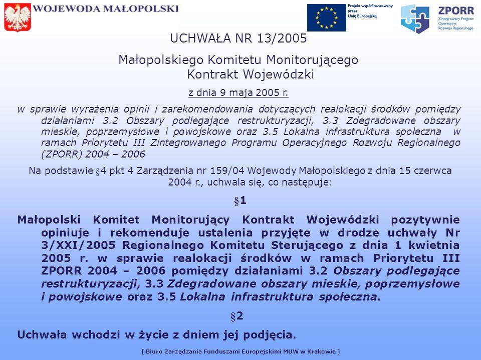 [ Biuro Zarządzania Funduszami Europejskimi MUW w Krakowie ] UCHWAŁA NR 13/2005 Małopolskiego Komitetu Monitorującego Kontrakt Wojewódzki z dnia 9 maja 2005 r.
