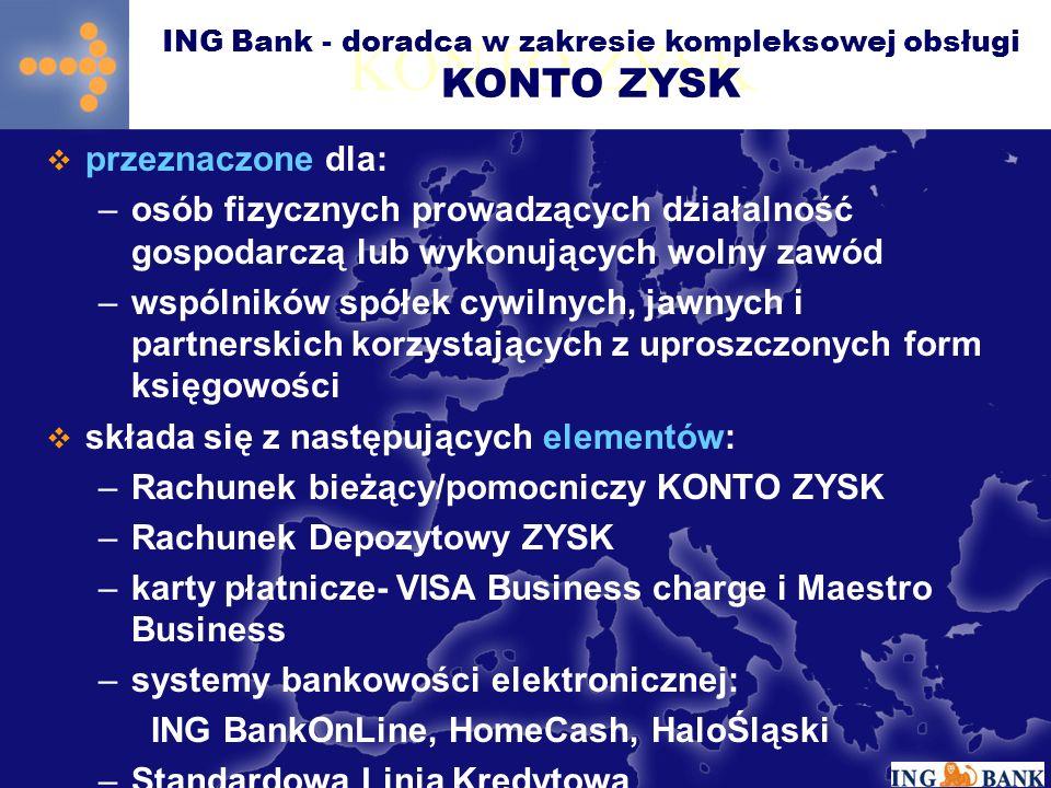 KONTO ZYSK przeznaczone dla: –osób fizycznych prowadzących działalność gospodarczą lub wykonujących wolny zawód –wspólników spółek cywilnych, jawnych i partnerskich korzystających z uproszczonych form księgowości składa się z następujących elementów: –Rachunek bieżący/pomocniczy KONTO ZYSK –Rachunek Depozytowy ZYSK –karty płatnicze- VISA Business charge i Maestro Business –systemy bankowości elektronicznej: ING BankOnLine, HomeCash, HaloŚląski –Standardowa Linia Kredytowa ING Bank - doradca w zakresie kompleksowej obsługi KONTO ZYSK