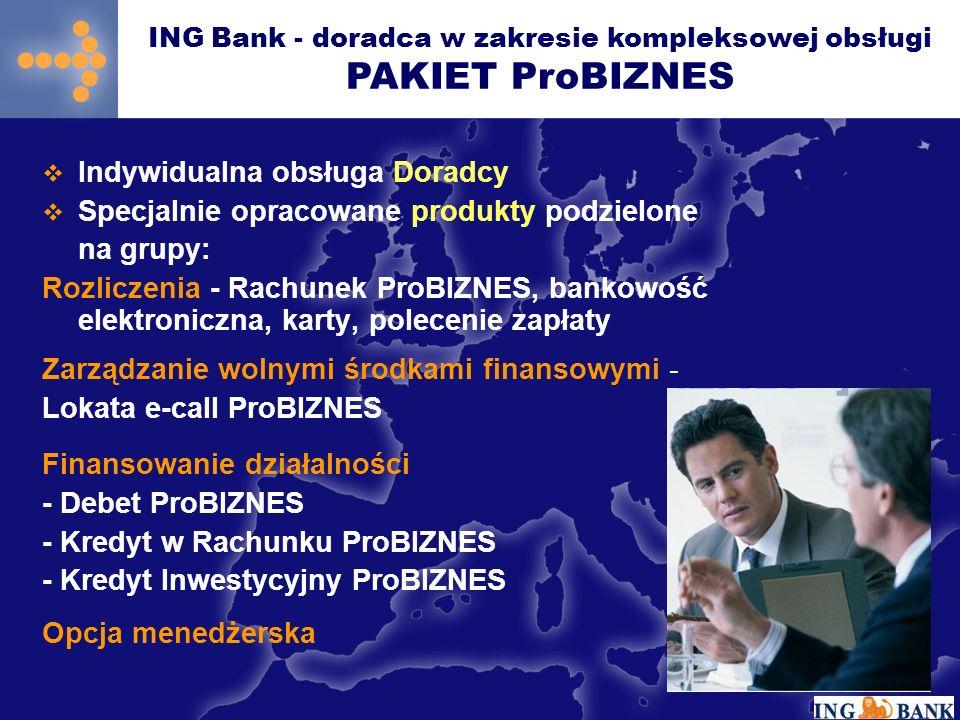 Indywidualna obsługa Doradcy Specjalnie opracowane produkty podzielone na grupy: Rozliczenia - Rachunek ProBIZNES, bankowość elektroniczna, karty, polecenie zapłaty Zarządzanie wolnymi środkami finansowymi - Lokata e-call ProBIZNES Finansowanie działalności - Debet ProBIZNES - Kredyt w Rachunku ProBIZNES - Kredyt Inwestycyjny ProBIZNES Opcja menedżerska ING Bank - doradca w zakresie kompleksowej obsługi PAKIET ProBIZNES