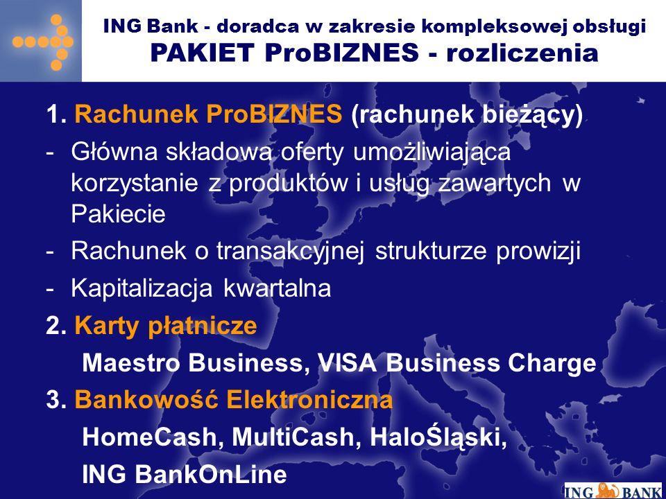 1. Rachunek ProBIZNES (rachunek bieżący) -Główna składowa oferty umożliwiająca korzystanie z produktów i usług zawartych w Pakiecie -Rachunek o transa