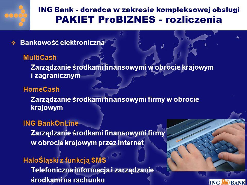 Bankowość elektroniczna MultiCash Zarządzanie środkami finansowymi w obrocie krajowym i zagranicznym HomeCash Zarządzanie środkami finansowymi firmy w obrocie krajowym ING BankOnLine Zarządzanie środkami finansowymi firmy w obrocie krajowym przez internet HaloŚląski z funkcją SMS Telefoniczna informacja i zarządzanie środkami na rachunku ING Bank - doradca w zakresie kompleksowej obsługi PAKIET ProBIZNES - rozliczenia