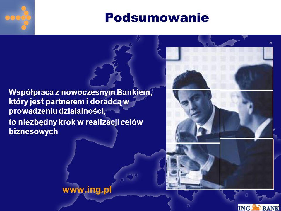 Podsumowanie Współpraca z nowoczesnym Bankiem, który jest partnerem i doradcą w prowadzeniu działalności, to niezbędny krok w realizacji celów biznesowych www.ing.pl