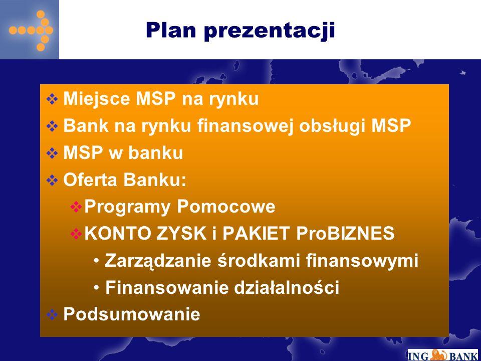 Plan prezentacji Miejsce MSP na rynku Bank na rynku finansowej obsługi MSP MSP w banku Oferta Banku: Programy Pomocowe KONTO ZYSK i PAKIET ProBIZNES Zarządzanie środkami finansowymi Finansowanie działalności Podsumowanie