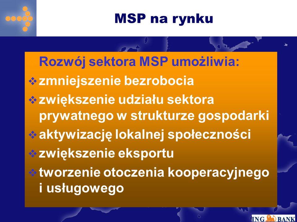 MSP na rynku Otoczenie MSP Organizacje wspierające przedsiębior -czość MSP bank Programy rządowe