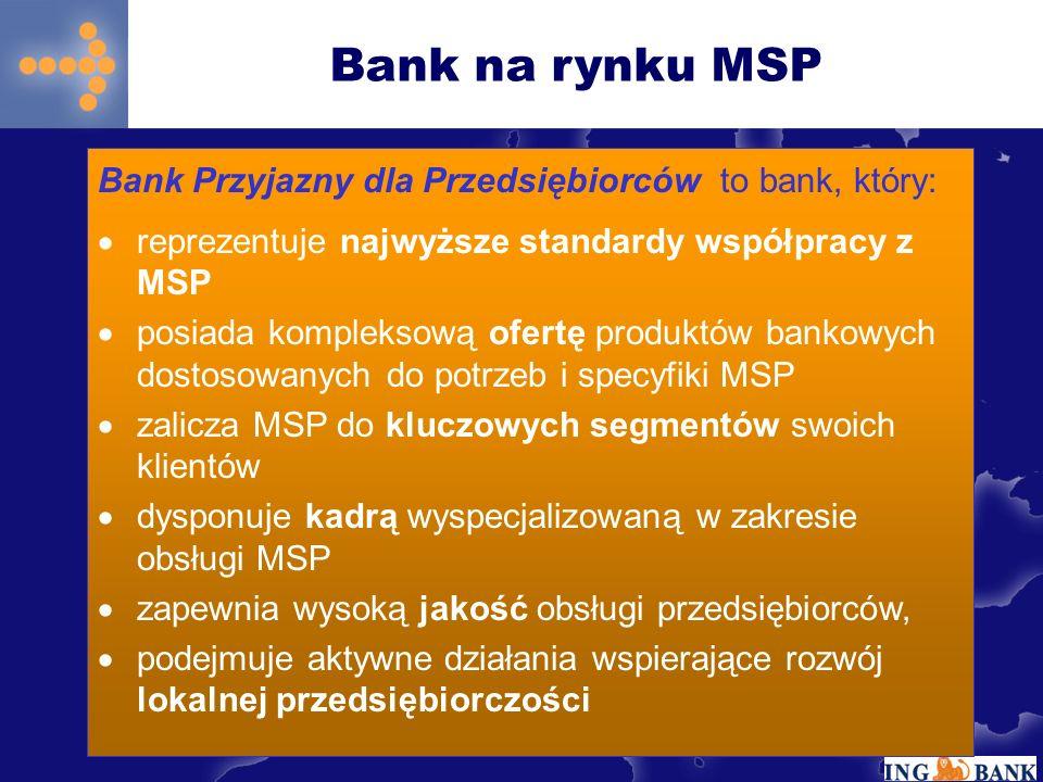 Bank na rynku MSP Bank Przyjazny dla Przedsiębiorców to bank, który: reprezentuje najwyższe standardy współpracy z MSP posiada kompleksową ofertę produktów bankowych dostosowanych do potrzeb i specyfiki MSP zalicza MSP do kluczowych segmentów swoich klientów dysponuje kadrą wyspecjalizowaną w zakresie obsługi MSP zapewnia wysoką jakość obsługi przedsiębiorców, podejmuje aktywne działania wspierające rozwój lokalnej przedsiębiorczości