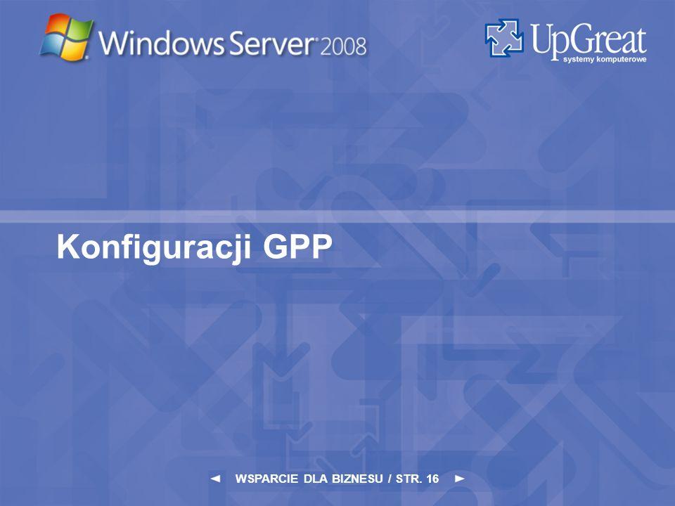 WSPARCIE DLA BIZNESU / STR. 16 Konfiguracji GPP